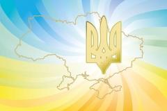 "Фотошпалери ""Контур України та герб"" (#150003)"