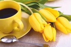 """Фотошпалери """"Жовті тюльпани та кава"""" (#160023)"""