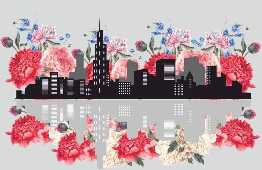 Абстрактный город с цветами, Фотообои с городом и цветами, Latexdruk, печать на фотообоях, картины на подрамнике, латексная печать, экологическая печать, экологически чистая печать, широкоформатная печать, Украина, Черновцы, латекс-печать, купить, заказать, фотообои, обои, оформление помещений, дизайн помещений, оформление интерьера, печать на фотообои, печать на обоях, дизайнерские обои, печать на ткани, картина на ткани, печать на холсте, картина в комнату, модульные картины, картины из частей, картины на подрамник
