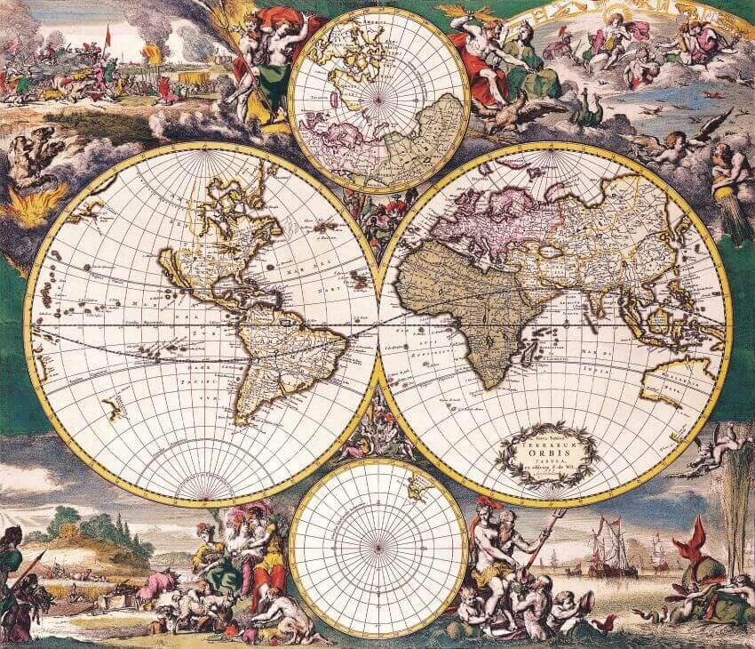 """Фотообои """"Старинная карта мира"""" (# 90026)"""