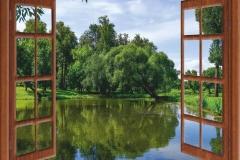 "Фотошпалери ""Вигляд з вікна на озеро"" (#50008)"