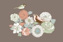 """Фотошпалери """"Квіти-птахи"""" (#80001)"""