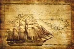 "Фотошпалери ""Старовинна карта з кораблем"" (#90013)"